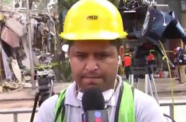 Microfonista de Grupo Imagen rompe en llanto al esperar que su esposa sea rescatada  (VIDEO)