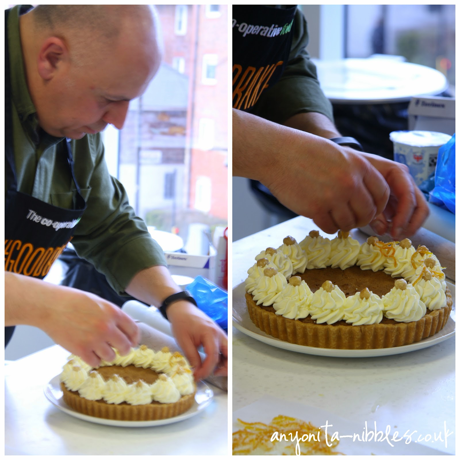 Luis Troyano finishing his chocolate praline tart | Anyonita-nibbles.co.uk