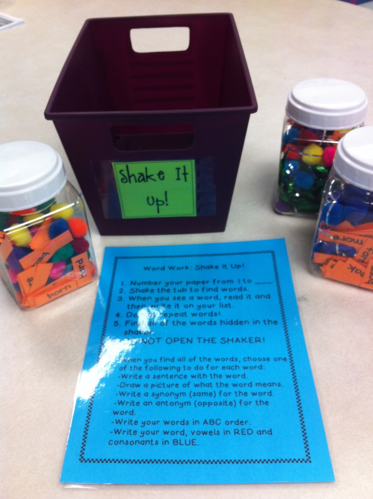 The Common Core Classroom Daily 5 Word Work Tubs
