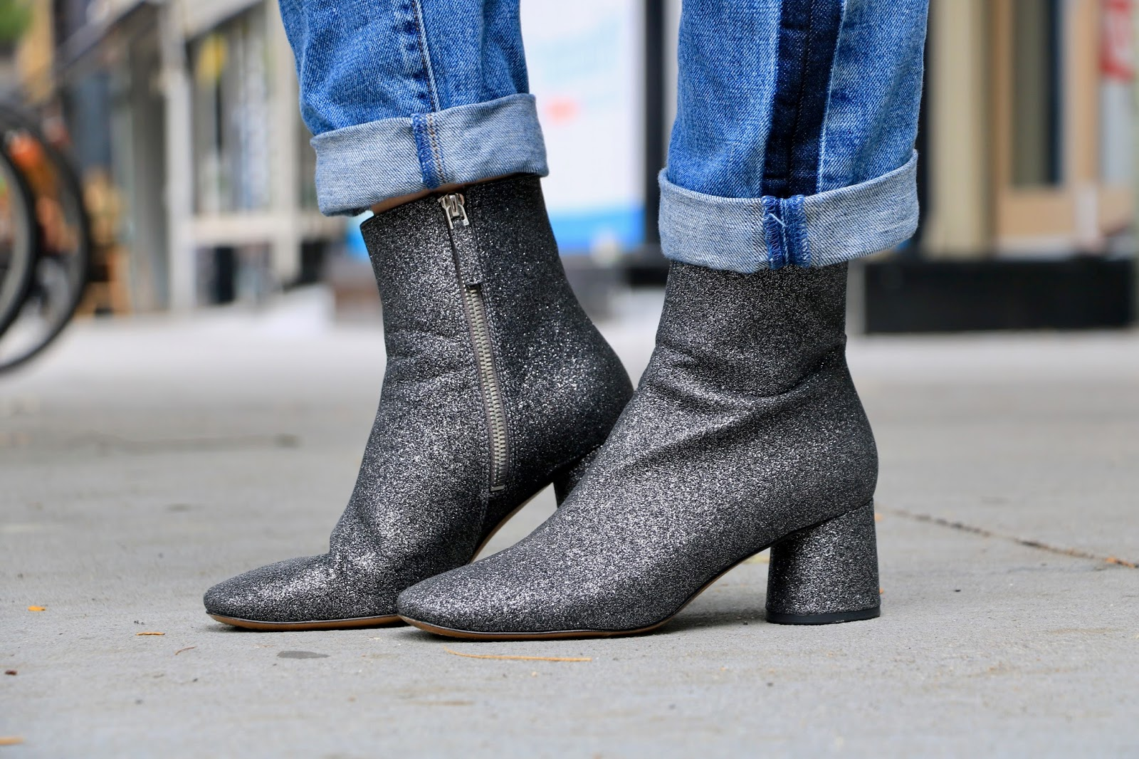 Nyc fashion blogger Kathleen Harper wearing sparkle boots by Marc Jacobs