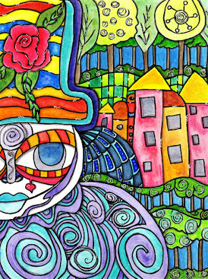 whimsical colorful character standing in front of houses and a forest inspired by Hundertwasser
