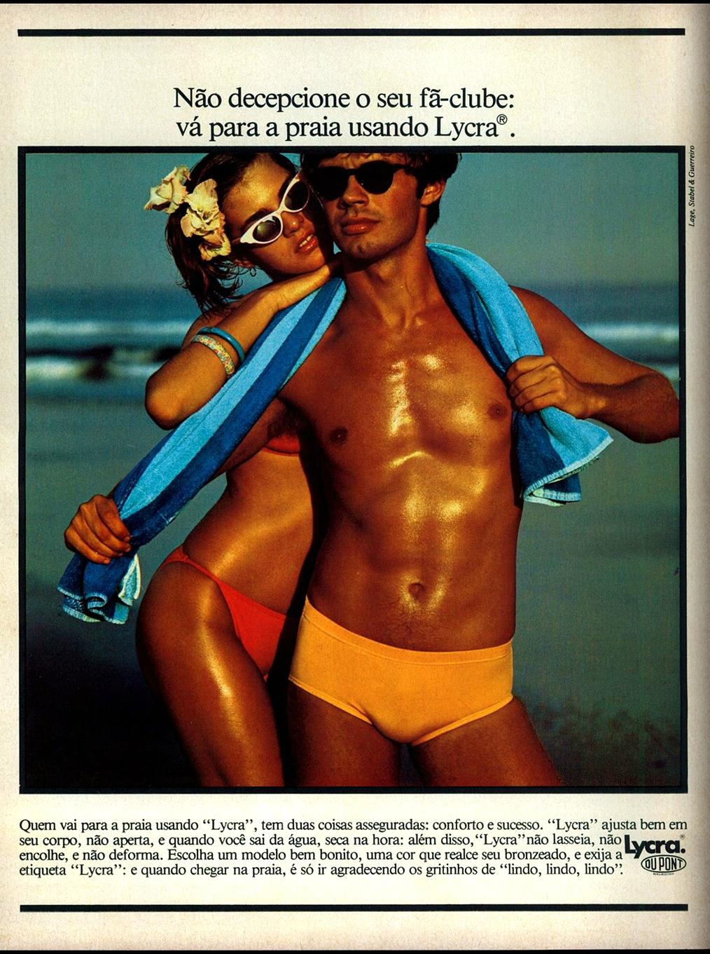 Propaganda antiga da Moda Praia da Lycra apresentado no final dos anos 70