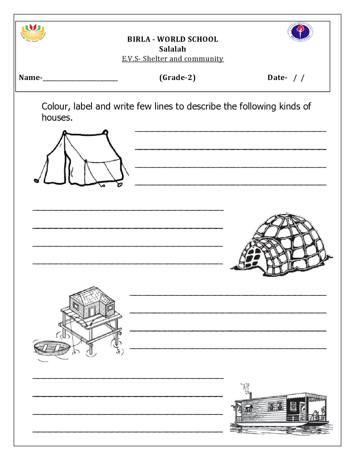 Birla World School Oman Homework For Grade 2b On 14 1 16
