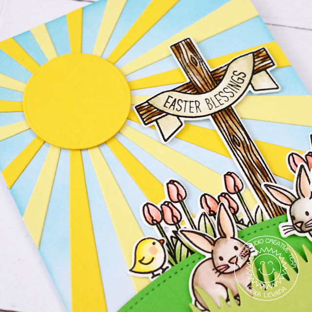 Sunny Studio Stamps: Sun Ray Dies and Easter Wishes Bunny Easter Card by Lexa Levana