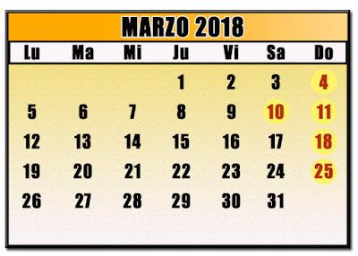 CALENDARIO MARZO 2018