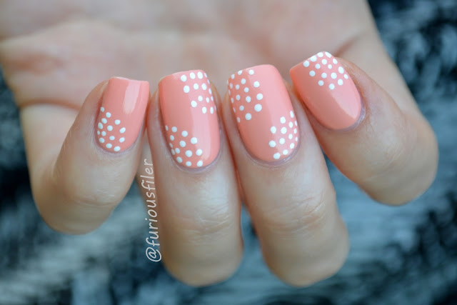 #31DC2015 orange nails dotts cute peach