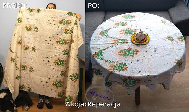 Akcja Reperacja u Adzika - szycie DIY obrus z zasłony