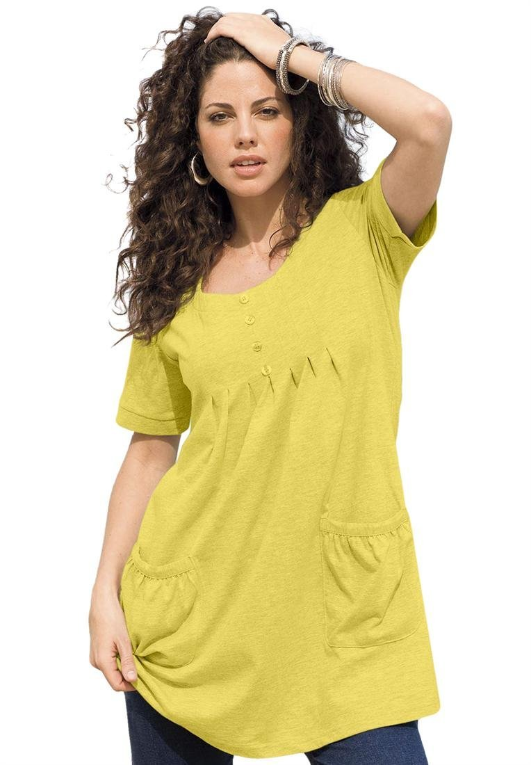 123c2f763fd This plus size tunic is as comfortable as it is beautiful! Soft pure cotton  or cotton/polyester jersey. Machine wash. Imported. Flattering scoop neck  design ...