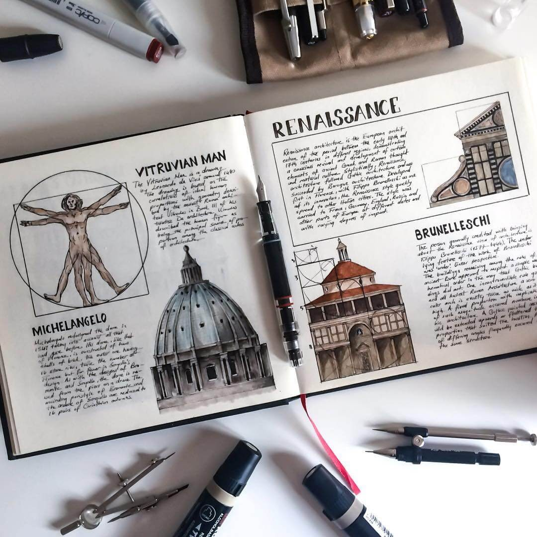 13-Renaissance-Michelangelo-Vitruvian-Man-Oğuzhan-Çengel-European-Heritage-Architectural-Drawings-www-designstack-co