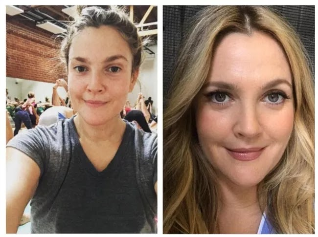 24 Pictures Of Famous Women With And Without Makeup - Drew Barrymore