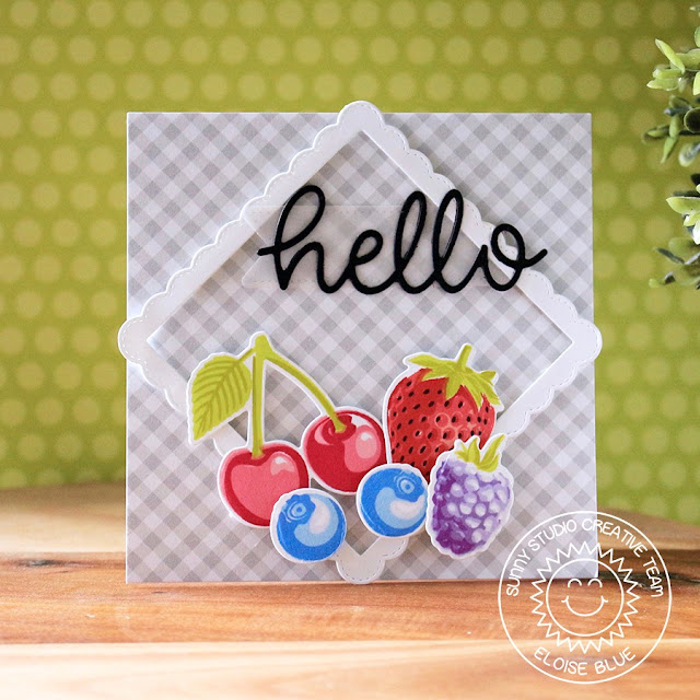Sunny Studio Stamps: Berry Bliss Fancy Frames Hello Word Die Square Hello Card by Eloise Blue