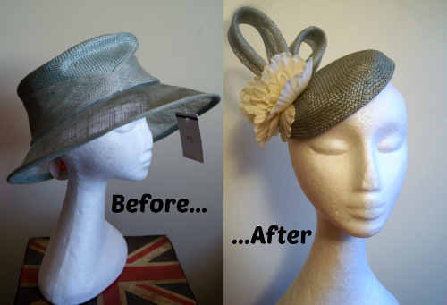 Before and after photos of a straw and sinamay hat refashion
