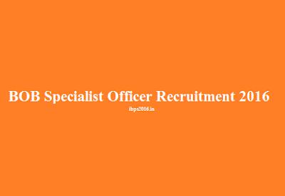 Specialist Officer Recruitment 2016