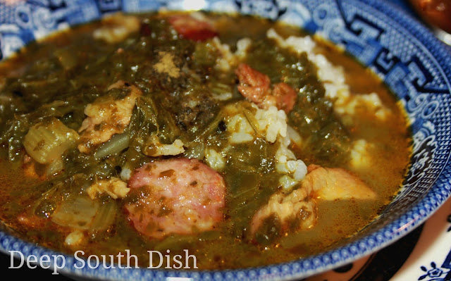Gumbo Z'herbes is a traditional green gumbo made with multiple greens, a wide variety of meats and traditionally served on Holy Thursday before Easter. Sometimes it is prepared meatless to be served during Lent..