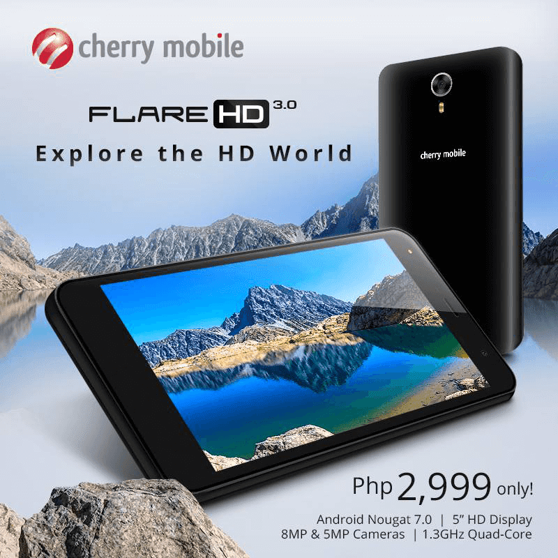Cherry Mobile Flare HD 3 With Nougat OS Now Official For PHP 2999
