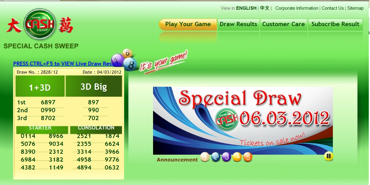 FORECAST LIDASSCAN: Special draw Sarawak cash sweep 6 March