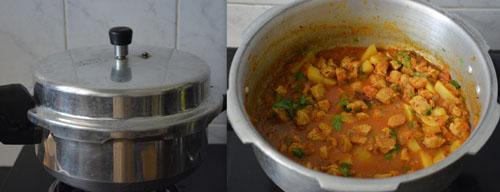 Soya Nuggets Aloo gravy in pressure cooker