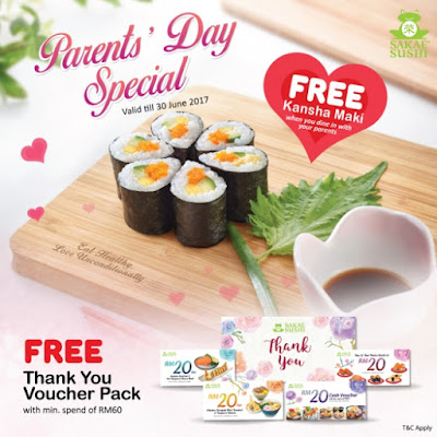 Sakae Sushi Malaysia Free Kansha Maki Thank You Voucher Pack Discount Promo