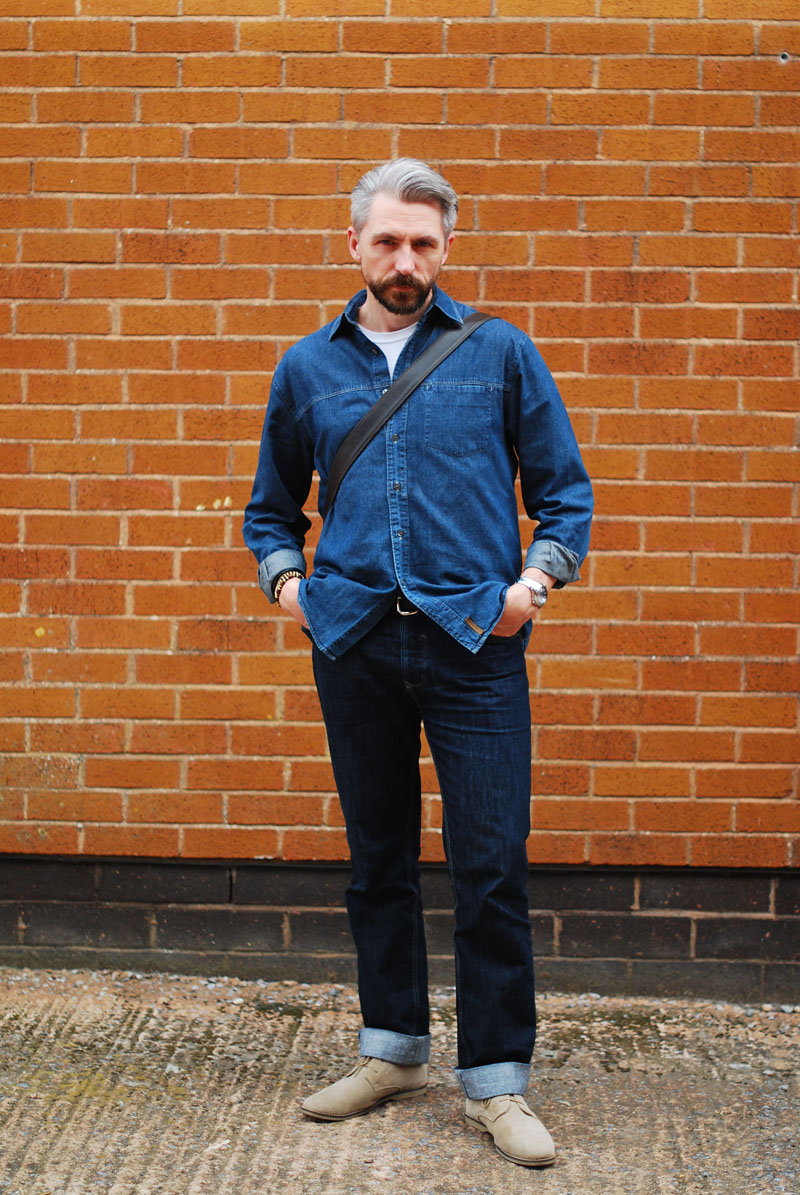 Double denim menswear with desert boots