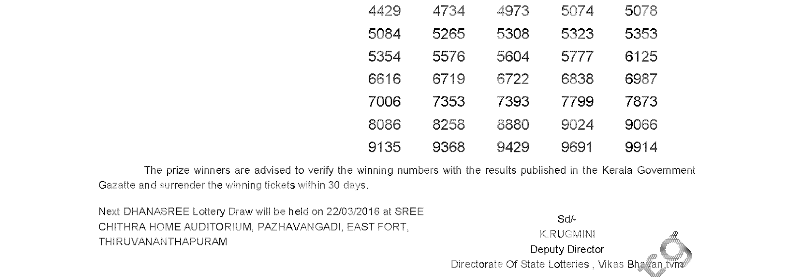 DHANASREE Lottery DS 228 Result 15-3-2016