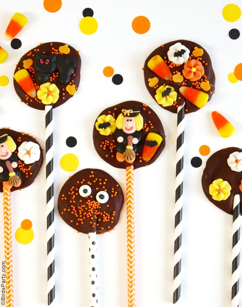DIY Halloween Chocolate Bark Lollipops Recipe - BirdsParty.com