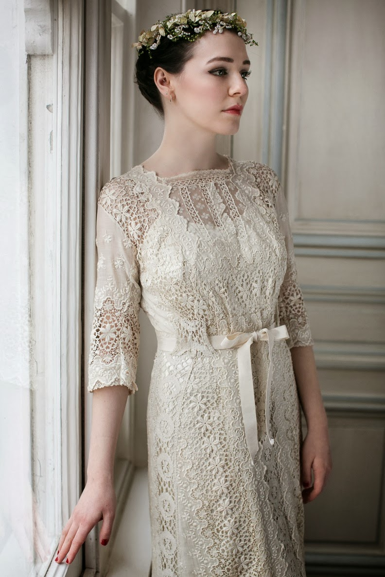 my vintage gowns lace vintage wedding dress Edwardian wedding dress in ecru mixed lace with s slip