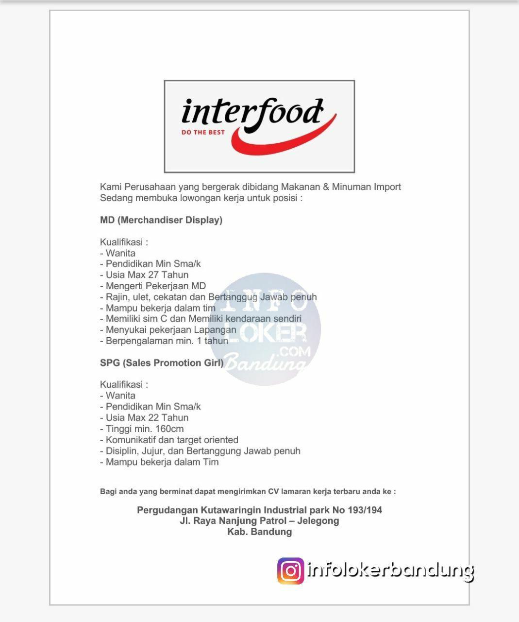 Lowongan Kerja PT. Interfood Sukses Jasindo Bandung Januari 2018