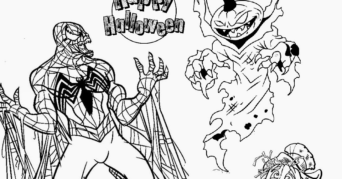 Evil Spiderman Vs Scary Pumpkin Halloween Coloring Pages