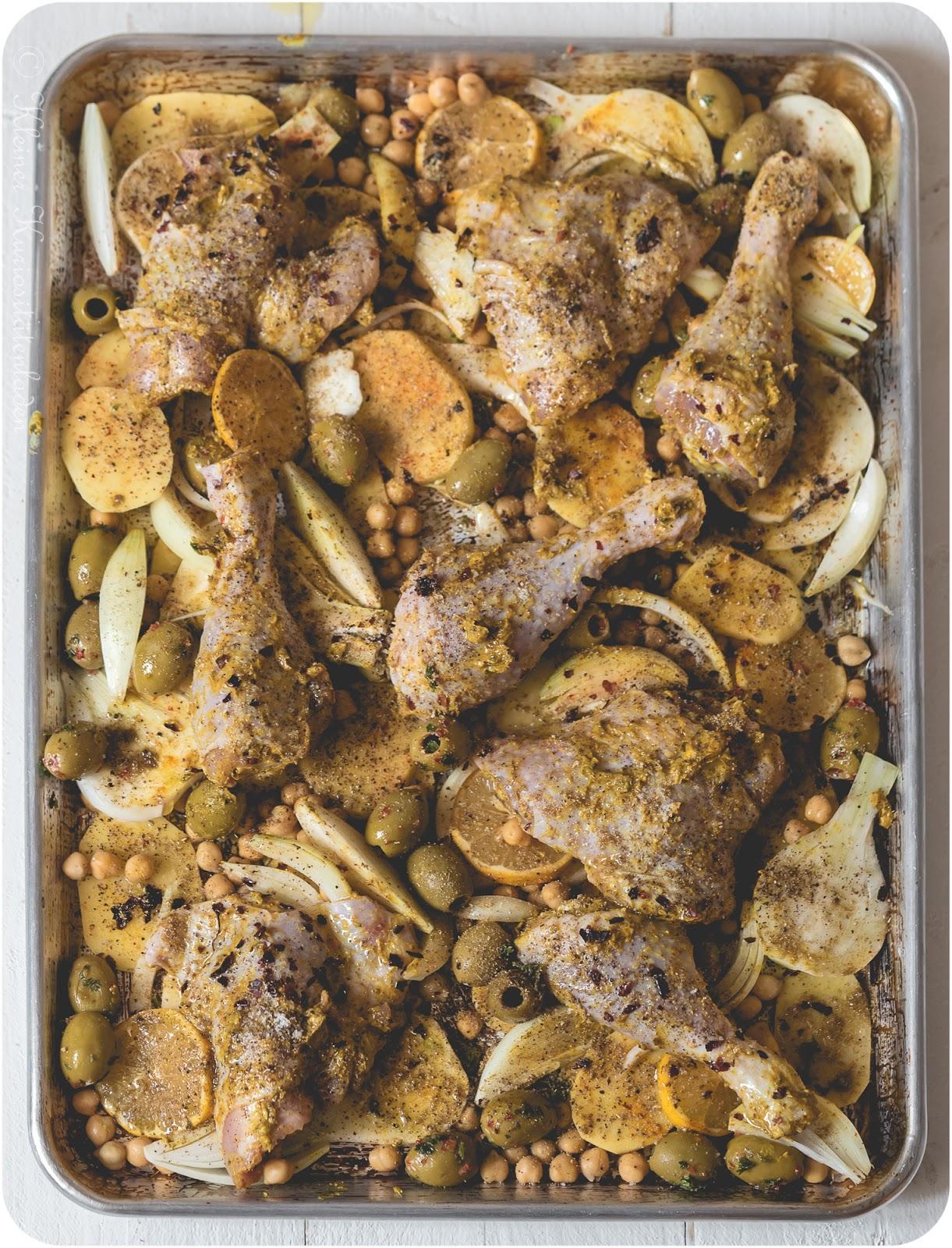 Marokkanisches Hähnchen vom Blech