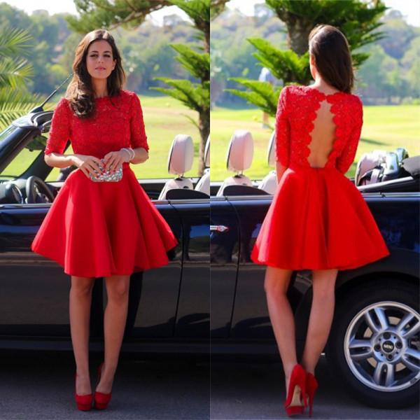 Vestido Vermelho Vivo Costas Decotadas
