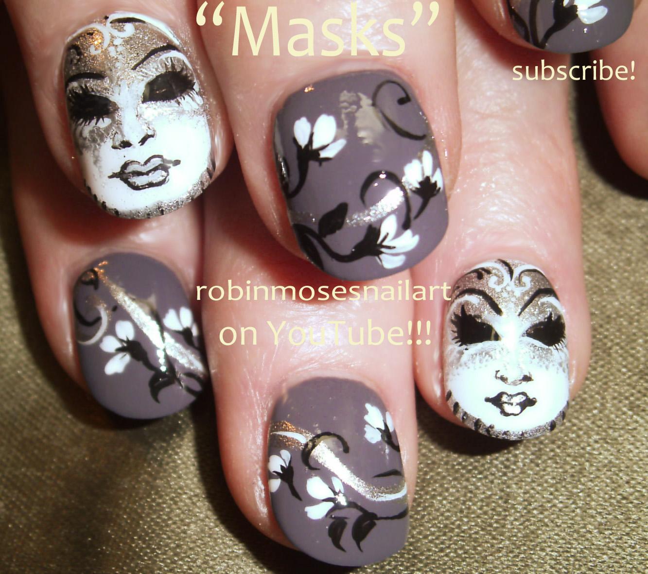Nail Art By Robin Moses Mardi Gras Nails Black And Gold Nail Art