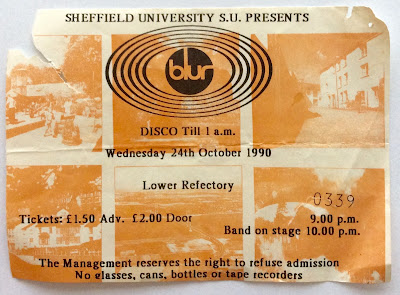 blur sheffield gig 1990, blur 1990s, blur tickets gig, old blur tickets, britpop tickets 1990, blur 1991 throwback