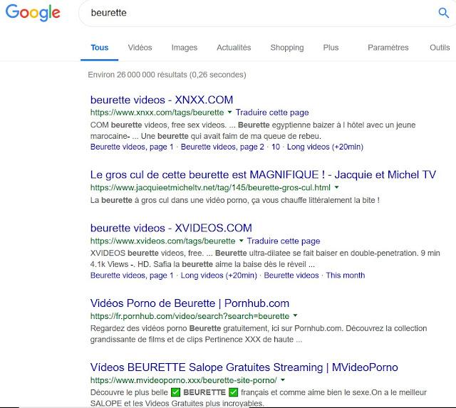 """Pour la recherche du mot """"beurette"""", les premières pages de résultats proposés par Google sont des sites pornographiques."""