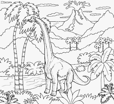 Jurassic Period art plant eating elongated neck large dinosaur Diplodocus pictures for kids to color