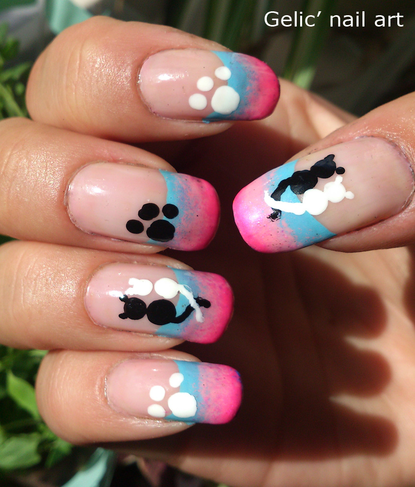 Love Nail Art: Gelic' Nail Art: Cats In Love Funky French Nail Art