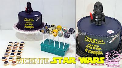 Tarta personalizada de fondant Star Wars cookies galletas impresión comestible cakepops Laia's Cupcakes Puerto Sagunto