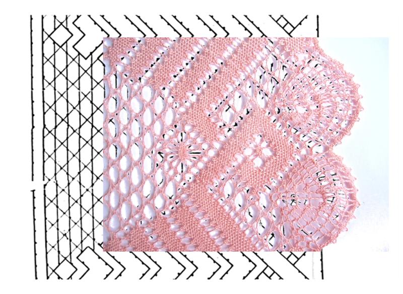fotomontaje pluma con remate en trenza de 4 cabos sobre esquema-picado puntilla con esquina de encaje de bolillos número 2
