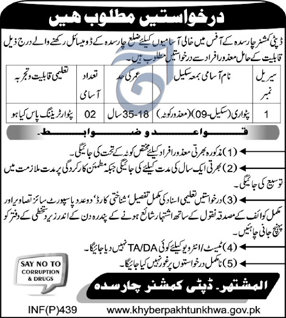 Deputy Commissioner Office Charsadda Jobs