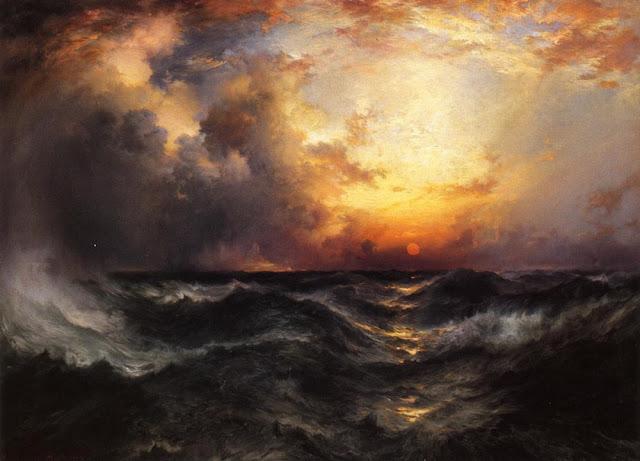 Puesta de sol en el océano – Thomas Moran