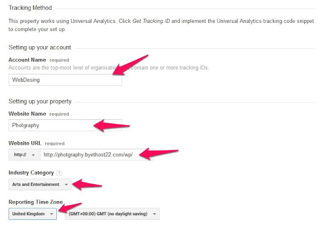 google analytics setting up account