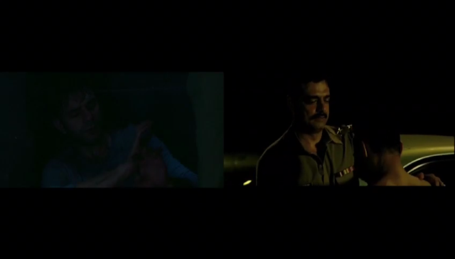 Left: Arjun Mathur gets abused in Made in Heaven; Right: Rahul Bose forced on his knees by a police officer