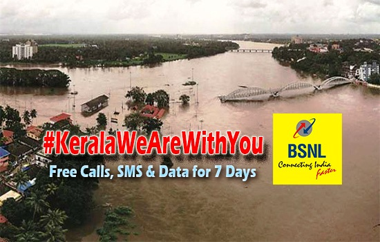 Free Calls, SMS and Data; Helping hand from BSNL to customers in flood affected areas of Kerala