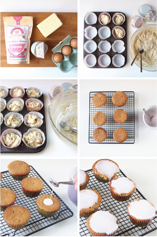 How to make Raspberry and Vanilla Cupcakes made using cake mix from House of the Rising Bun.