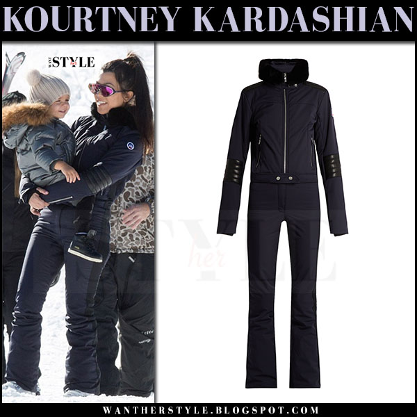 Kourtney Kardashian in navy ski suit fusalp what she wore