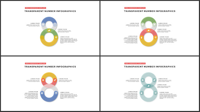 Infographic Transparent Design Elements for PowerPoint Templates in white background using Number 8