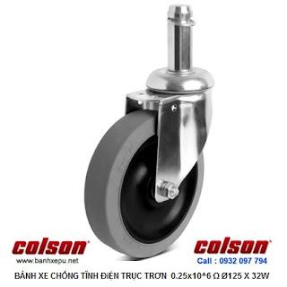 Bánh xe cao su chống tĩnh điện Colson Mỹ trục trơn phi 125 (5 inch) www.banhxepu.net