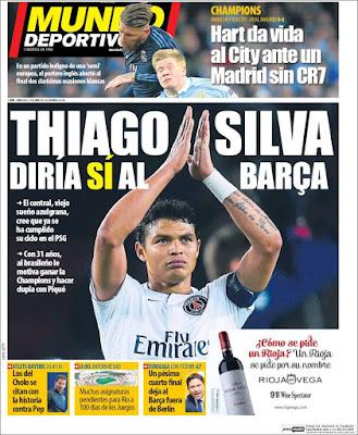Portada Mundo Deportivo: Thiago Silva al Barça
