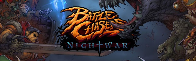 Battle Chasers Night War Logo with backdrop featuring Garrison, Knolan and Monsters