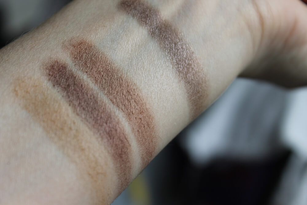E.L.F. Wild Wheat, Raspberry Truffle, Saddle, Max Factor 101, Max Factor 107 swatches