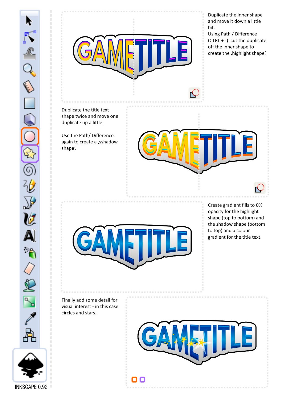 Creating a game title with envelope deformation in inkscape